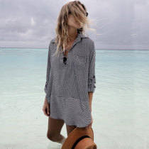 Printed Stripe Shirt Collar Beach Coverup