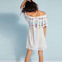 Off The Shoulder Embroidered Lace Beach Dress