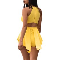 Round Neck Irregular Patchwork One-piece Short Romper