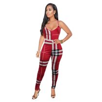 Lattice Straps Colorful Checks Jumpsuit