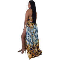 High Cut Sexy Print Retro Split Long Dress