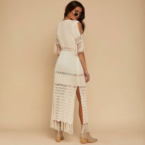 Summer Saida De Praia Hook Tassel Long Crochet Dress