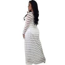 Striped White Bandeau Top And Pants with Long Robe