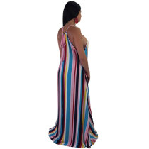 Euramerican Striped Floor Length Dress
