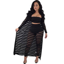 Striped Black Bandeau Top And Pants with Long Robe