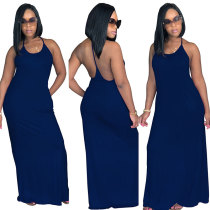 Pockets Spaghetti Strap Backless Beachwear Casual Maxi Dress
