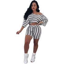 Casual Striped White Two-piece Shorts Set