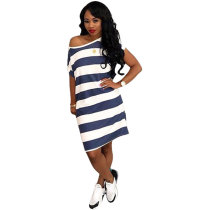 White and Blue Striped Casual Dress