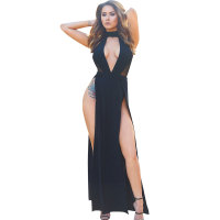 Black Plunge Neck High Waist Slit Maxi Dress