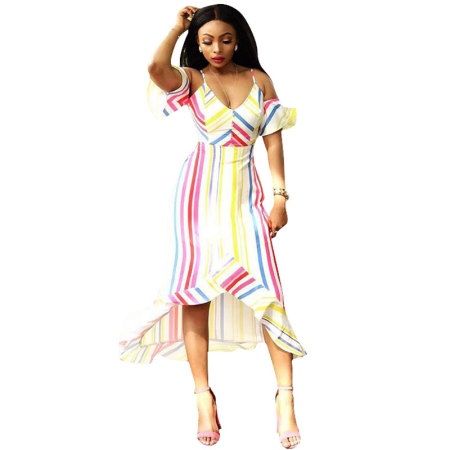 Cold Shoulder Ruffle Striped Printed Yellow Mid Calf Dresses