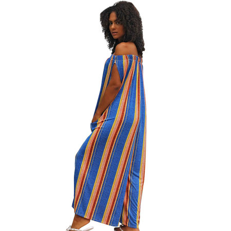 Off Shoulder Striped Tube Jumpsuit