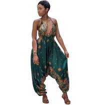 Printed Bohemian Goddess Jumpsuit (Green)