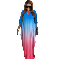 Women Bohemian Bat Sleeve Print Maxi Dress