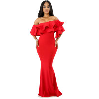 Ruffles One Shoulder Maxi Evening Dress
