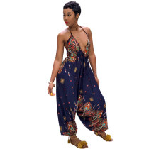 Printed Bohemian Goddess Jumpsuit (Navy Blue)