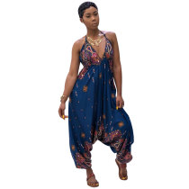 Printed Bohemian Goddess Jumpsuit (Teal)