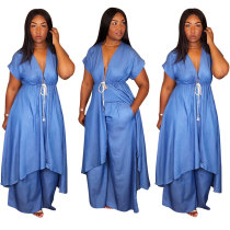 Sexy Irregular Denim Two-Piece Set