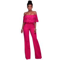 Sexy Lace Ruffled Off Shoulder Slinky Jumpsuit With Wide Leg