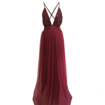 Mesh Sequined Straps V-Neck Prom Dress