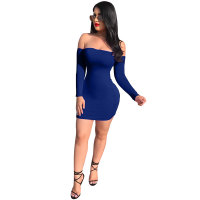 Sexy Off-Shoulder Solid Color Backless Mini Dress