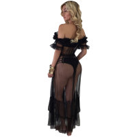 Sexy Mesh See-through Gauze Dress With Ruffled