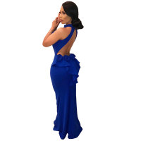 Open Back Sleeveless Ruffled Party Mermaid Dress