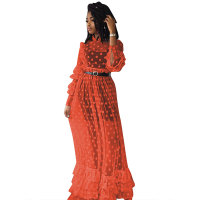 Flounce Net Yarn Maxi Dress