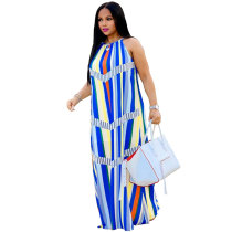 Colorful Straps Striped Long Maxi Dress