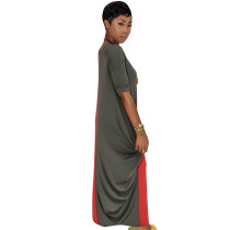 Color Block Casual Asymmetric Maxi Dress