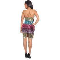 Colorful Sequin Strapless Mini Dress