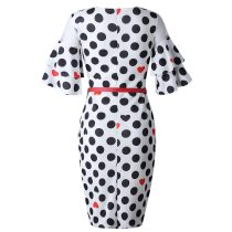Spliced Bell Sleeve Polka Dots Midi Office Dress