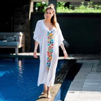 V Neck Embroidered Loose Beach Holiday Dress