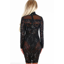 Black See Through Patchwork Sequin Clubwear