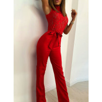 Sleeveless Lace Patchwork Belted Wide Leg Jumpsuit