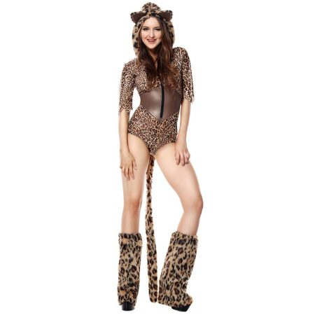 Women's Leopard Deluxe Sexy Romper Costume With Foot Cover