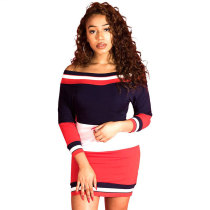 Color Block Off The Shoulder Long Sleeve Mini Dress