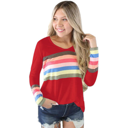 Rainbow Striped Cotton V-neck Top