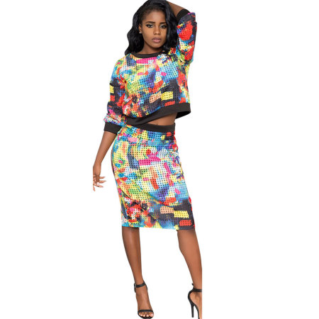 Printed O Neck Long Sleeve Sexy Two-piece Skirt Set