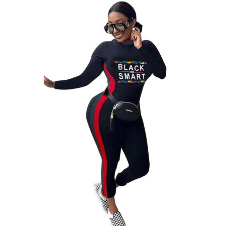 Solid Color Striped High Neck Letter Print Jumpsuits