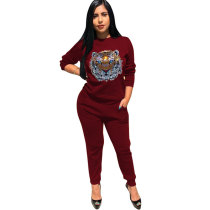 Animal Print Long Sleeve Pocket Casual Two Piece Outfits