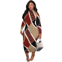 Plus Size Multicolor Mid Calf Dress