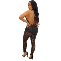 Neish Sequin Halter Jumpsuit (Black)