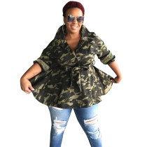 Turn-down Neck Camouflage Sequins Jacket