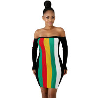 Rainbow Striped Off Shoulder Crazy Dress