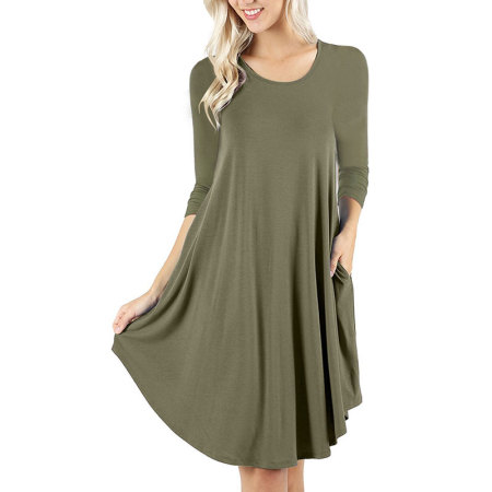 Women's Casual Loose Long Sleeve Plain Swing Dresses