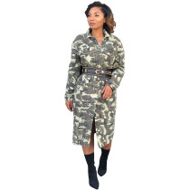 Camouflage Printed Belt Long Coat