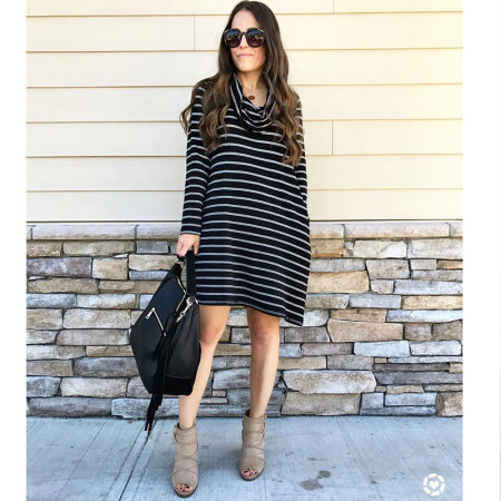 Striped Long Sleeve Dresses