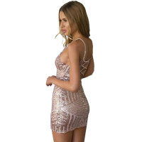 Straps Backless Sequins Mini Dress