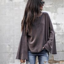 Cotton Flare Sleeve Loose Top