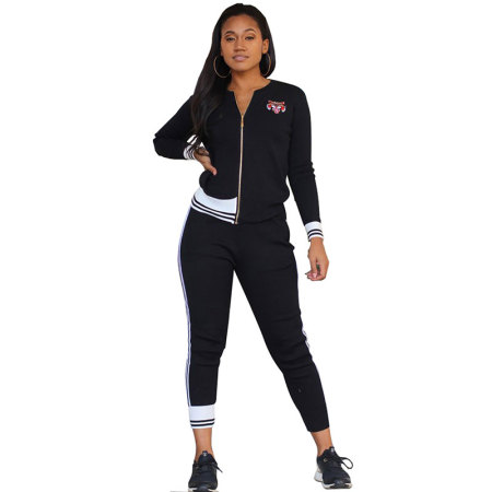 Striped Side Zipper Sports Two Pieces Set
